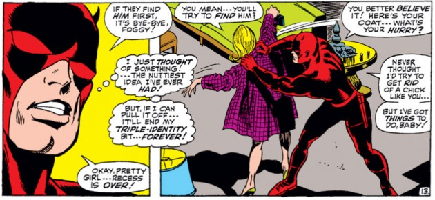 Daredevil pushing Karen out the door