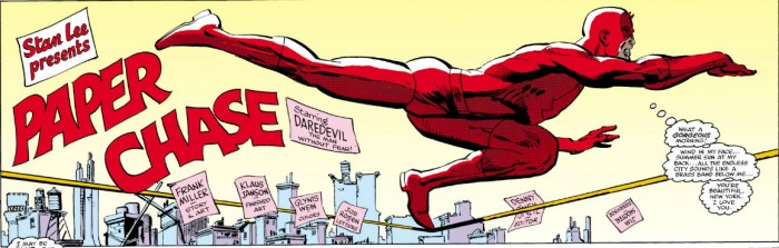 Credit panel from Daredevil #178, by Frank Miller and Klaus Janson