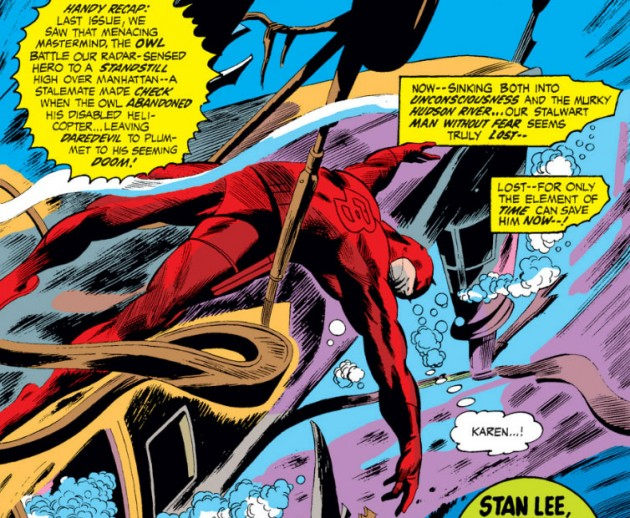 Daredevil passed out in the ocean, from Daredvil #81, by Gerry Conway and Gene Colan
