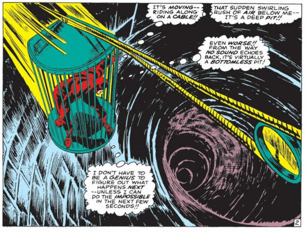 Daredevil captured by the Owl, from Daredevil #21, by Stan Lee and Gene Colan