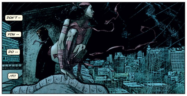 Elektra perched on roof top with Matt in the background, from Daredevil #37