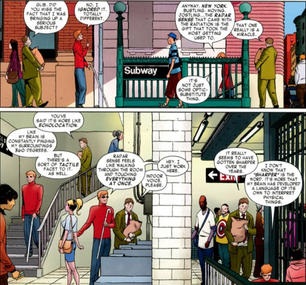 Matt and Foggy enter the subway, from Daredevil #1, art by Marcos Martín