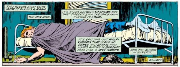 A distraught Matt under the covers in Daredevil #228, by Frank Miller and David Mazzucchelli