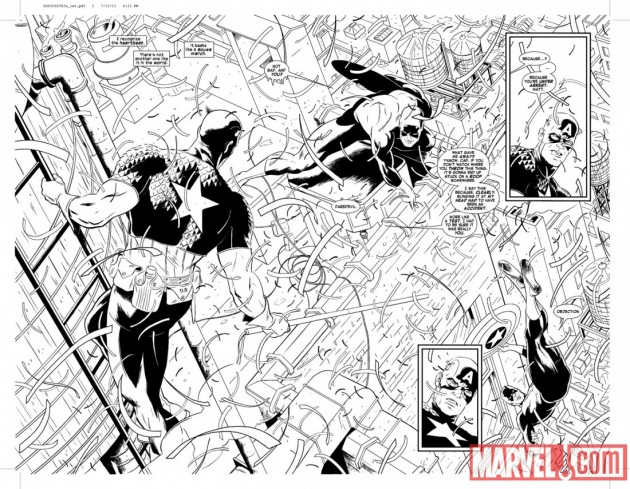 Splashpage featuring Daredevil and Captain America, by Paolo Rivera, from Daredevil #2