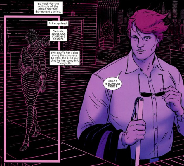 Matt point of view shot of Kirsten McDuffie, from Daredevil #1, art by Paolo Rivera