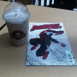 Daredevil with a chilled coffee drink, sent in by @apkussma