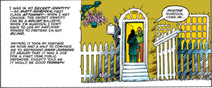 Matt goes to visit Chuckie, in Daredevil #191 by Frank Miller, quoted above