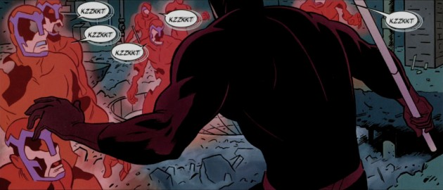 Daredevil meets Klaw, from Daredevil #2 by Mark Waid and Paolo Rivera
