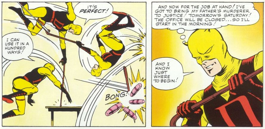 Daredevil tries his billy club, panel from Daredevil #1, by Stan Lee and Bill Everett