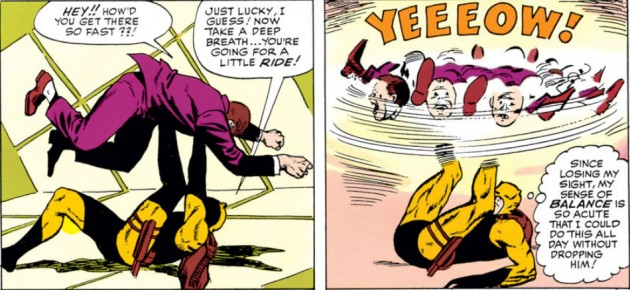 Daredevil spins a villain around with his legs while lying on his back, panel from Daredevil #3, by Stan Lee and Joe Orlando