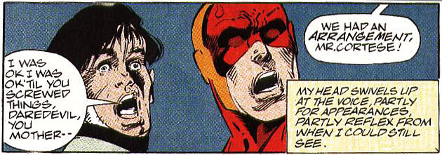 "Panel from Daredevil #301, by D.G. Chichester and M.C. Wyman. Daredevil, in battle, thinks to himself: ""My head swivels up at the voice, partly for appearances, partly reflex from when I could still see."""