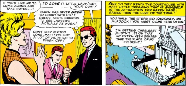 Karen walks Matt to court, from Daredevil #4, by Stan Lee and Joe Orlando