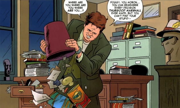 Foggy is looking for his tie in the office, from Daredevil #2 by Mark Waid and Paolo Rivera