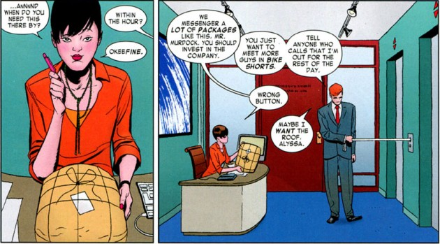 Matt talks to new secretary Alyssa, from Daredevil #4