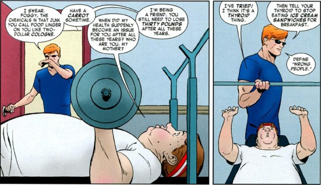 Matt and Foggy work out, scene from Daredevil #4
