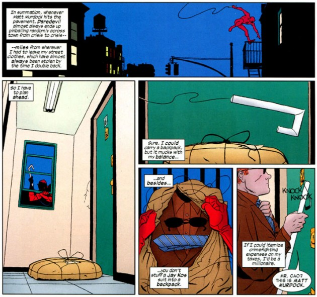 Matt finds a solution for changing out of his Daredevil costume, from Daredevil #4