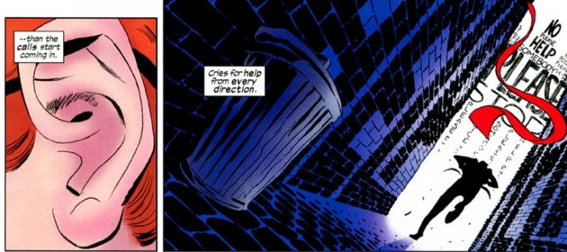Daredevil runs toward a wall of sound, from Daredevil #4 by Mark Waid and Marcos Martín