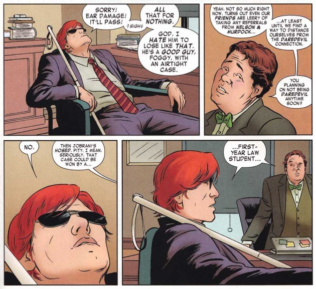 Matt and Foggy talk in their office, from Daredevil #3