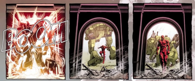 Daredevil arrives at the Avengers' mansion, from Daredevil #16, by Brian Michael Bendis and Mike Deodato