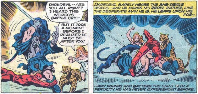 Daredevil and Shanna the She-Devil, from Daredevil #111