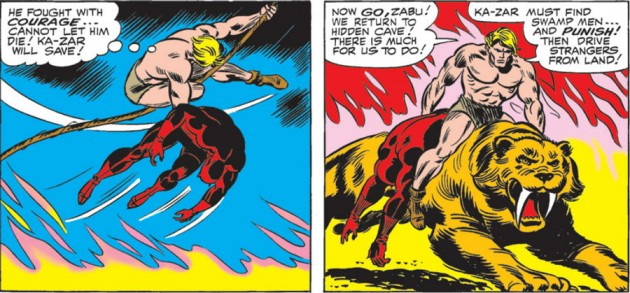 Daredevil is rescued by Ka-Zar, panel from Daredevil #12