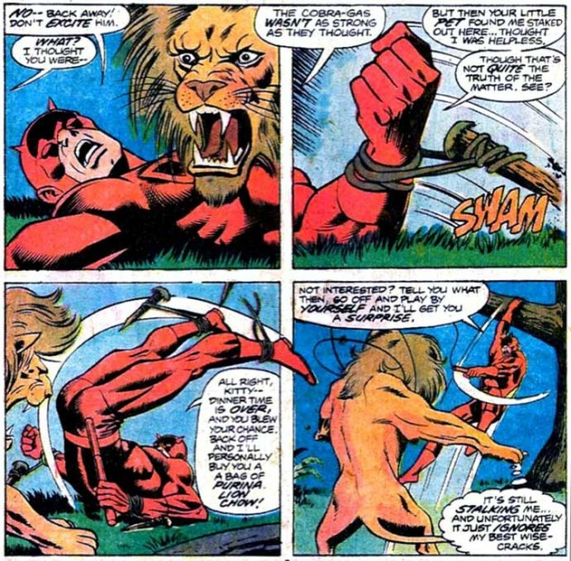Daredevil battles a lion in Daredevil #143 by Marv Wolfman and Bob Brown