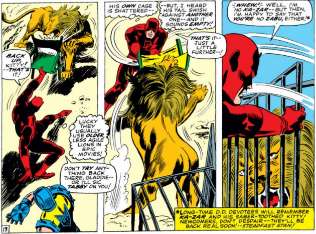 Daredevil beats up a lion with a lawn chair, Daredevil #23