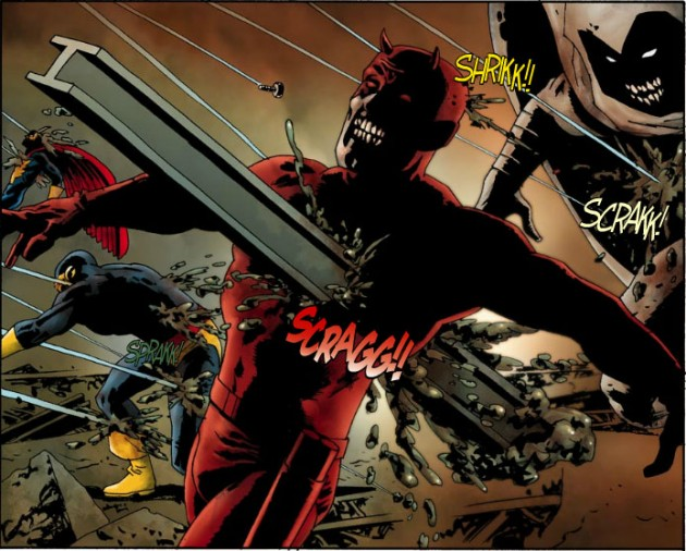Zombie Daredevil gets hit with a metal beam, from Marvel Zombies #1, by Robert Kirkman and Sean Phillips
