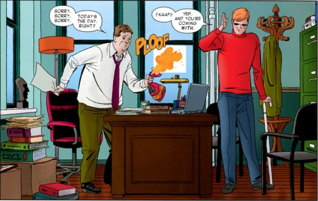 Does Foggy have a Mac too? Office interior shot from the Daredevil #1 back-up story