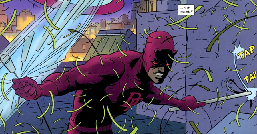 Daredevil taps his club against a chimney, from Daredevil #1 by Mark Waid and Paolo Rivera