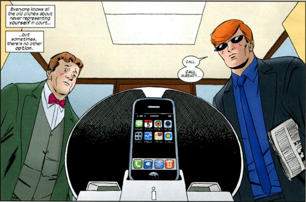 Matt - or Foggy - has an iPhone! The two await a call in Daredevil #4