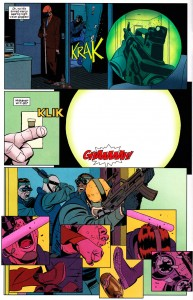 Matt tricks the hit squad by blinding them, from Daredevil #5 by Mark Waid and Marcos Martín