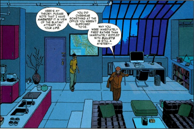 Matt takes Austin to his apartment, computer is seen in the background. From Daredevil #5 by Mark Waid and Marcos Martín