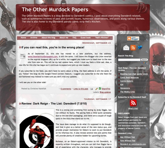 Screen capture of The Other Murdock Papers, from the blogger days