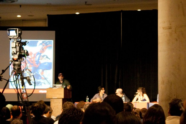 Paolo Rivera, Dan Slott, Ellie Pyle and others at the Amazing Spider-Man panel