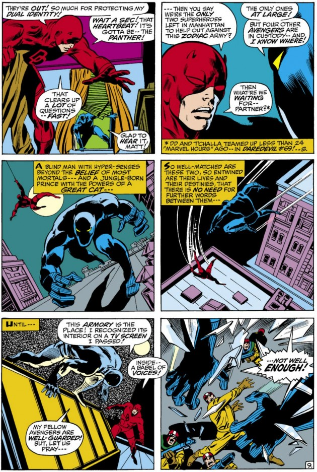 Pages from The Avengers #82, featuring Daredevil and the Black Panther