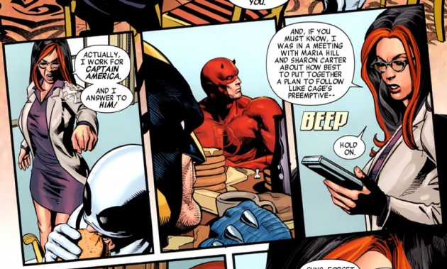 Daredevil meets Ms Hand, from New Avengers #19