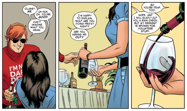 Kirsten asks Matt out, from Daredevil #7 by Mark Waid and Paolo Rivera
