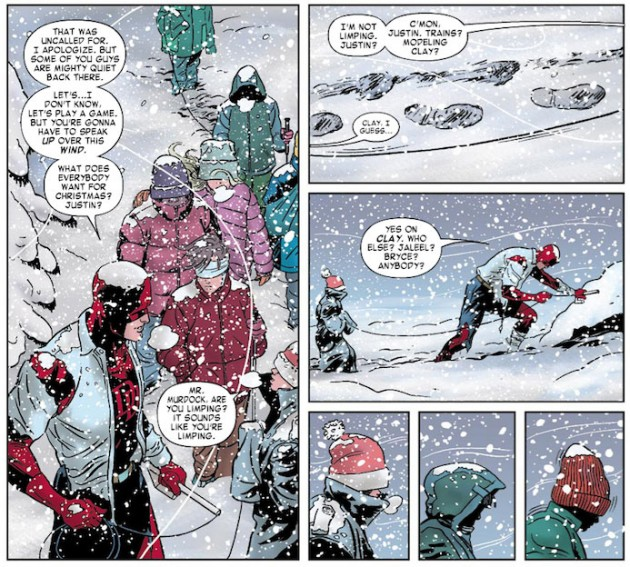 Matt limping through the snow, from Daredevil #7 by Mark Waid and Paolo Rivera