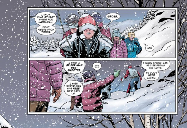 Matt jokes about Spider-Man, from Daredevil #7 by Mark Waid and Paolo Rivera
