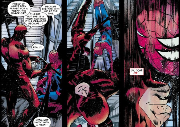 Spidey and Daredevil jumping off a building, panels from Amazing Spider-Man #677