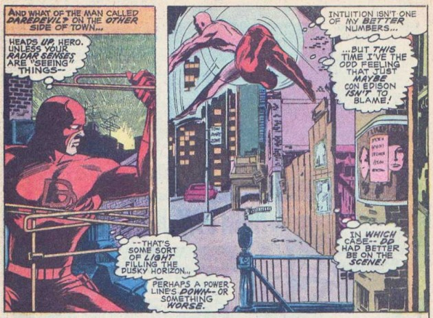 Panels from Daredevil #77 in which Daredevil notices a light on the horizon