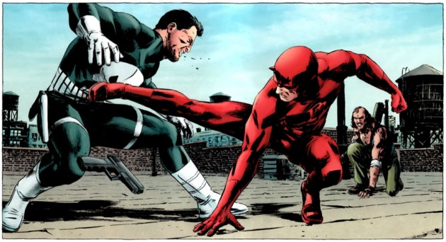Daredevil fights the Punisher, from The Punisher #7, by Greg Rucka and Michael Lark