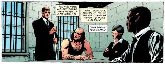 Matt Murdock representing a client, from The Punisher #7, by Greg Rucka and Michael Lark