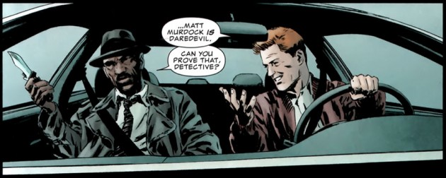 Two cops discuss Matt being Daredevil, from The Punisher #7, by Greg Rucka and Michael Lark