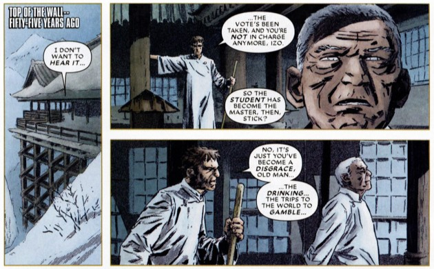 Stick and Izo talking, from Daredevil #500 by Ed Brubaker and (among others) Chris Samnee