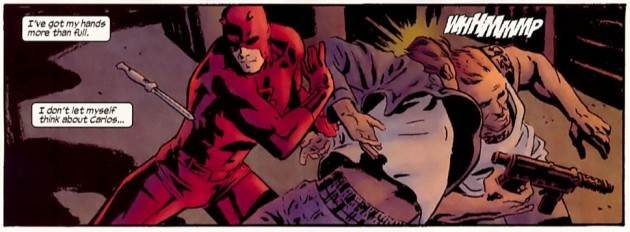 Daredevil in action, from Daredevil: Blood of the Tarantula by Ande Parks, Ed Brubaker and Chris Samnee