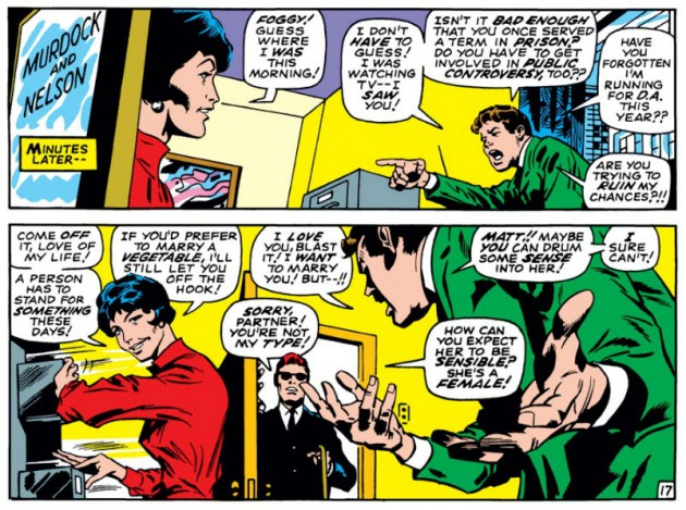 Foggy yells at Debbie, from Daredevil #44, by Stan Lee and Gene Colan