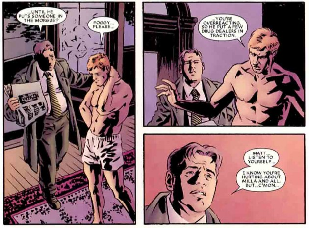 Foggy and Matt talking, from Daredevil: Blood of the Tarantula by Ande Parks, Ed Brubaker and Chris Samnee