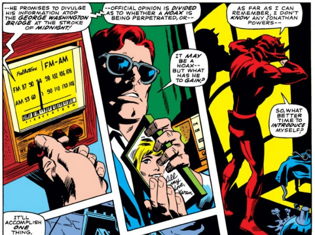 Matt touches Karen's photo, from Daredevil #44, by Stan Lee and Gene Colan